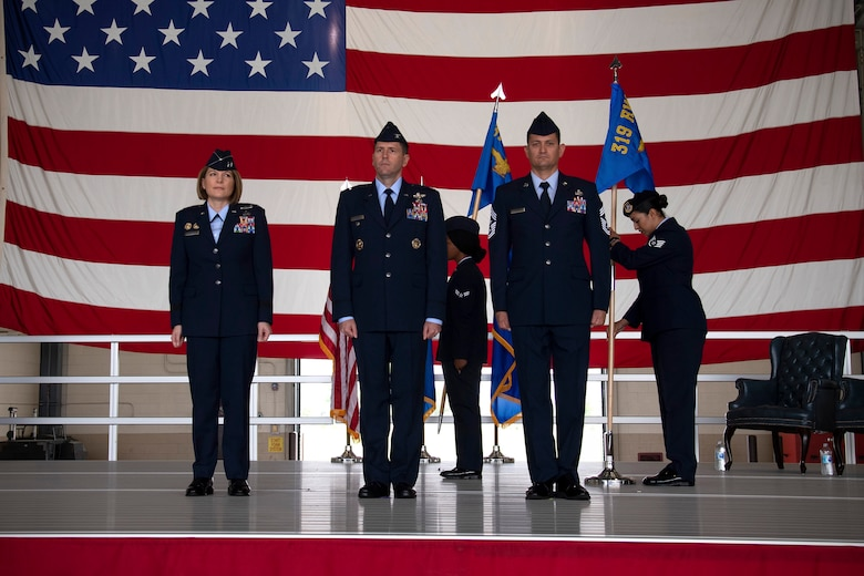 The 319th Reconnaissance Wing guidon replaces that of the 319th Air Base Wing June 28, 2019, on Grand Forks Air Force Base, North Dakota, officially marking the base's main mission as reconnaissance.