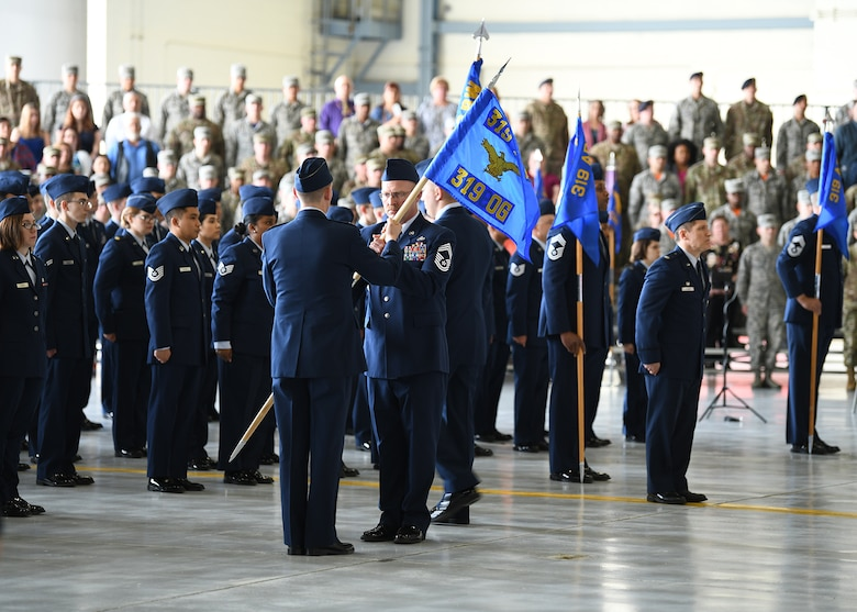 The 319th Operations Group guidon replaces that of the 69th Reconnaissance Group June 28, 2019, on Grand Forks Air Force Base, North Dakota.