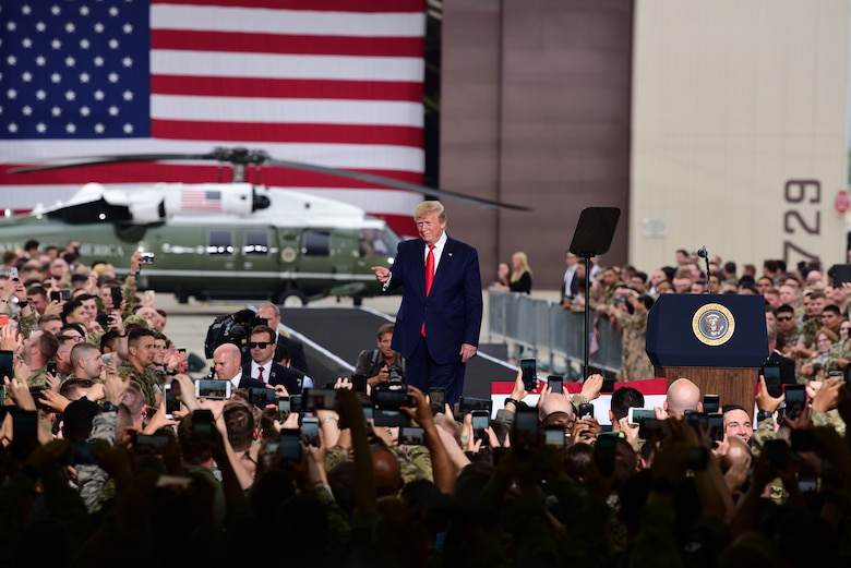 President Donald J. Trump addresses service members stationed during his visit to Osan Air Base, Republic of Korea, June 30, 2019.  U.S. forces across the peninsula are charged with the mission of deterring aggression, defending the Republic of Korea, and maintaining stability in Northeast Asia. (U.S. Air Force photo by Staff Sgt. James L. Miller)