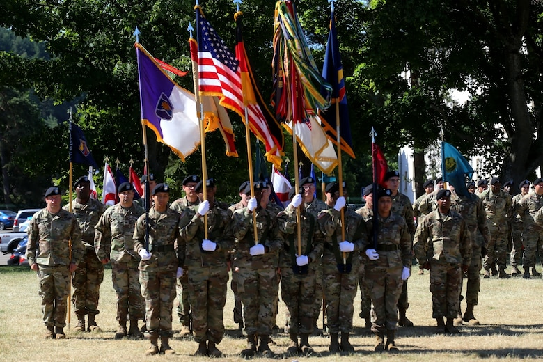KAISERSLAUTERN, Germany – U.S. Army Reserve Brig. Gen. Michael T. Harvey, incoming commander of the 7th Mission Support Command, addresses Soldiers and guests during a change of command ceremony held on NCO Field at Daenner Kaserne, United States Army Garrison Rheinland-Pfalz, June 29, 2019.