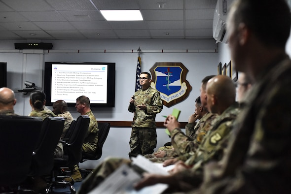 Senior Master Sgt. Zachary Chapin, 380th Air Expeditionary Wing occupational safety manager briefs 380th AEW commanders, chiefs and leaders at Al Dhafra Air Base, United Arab Emirates, Feb. 28, 2019. From the hundreds of pages of Occupational Safety and Health Administration (OSHA) regulations, on top of the Air Force safety regulations, occupational safety ensures that safety measures are made at almost every level in the Air Force by working closely with personnel. (U.S. Air Force photo by Senior Airman Mya M. Crosby)