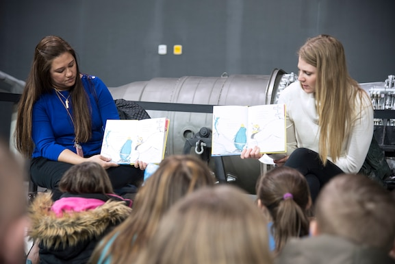 """DAYTON, Ohio -- More than 850 local second and third grade students participated in the museum's 20th annual Read Across America """"Read-In"""" from Feb 28-March 1, 2019. Volunteers from Wright-Patterson AFB read books to the students as part of the national celebration honoring Dr. Seuss' 115th birthday. (U.S. Air Force photo)"""
