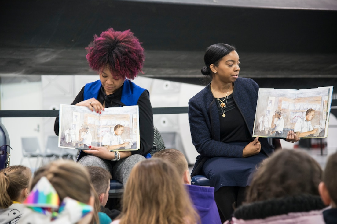 "More than 850 local second and third grade students participated in the museum's 20th annual Read Across America ""Read-In"" from Feb 28-March 1, 2019. Volunteers from Wright-Patterson AFB read books to the students as part of the national celebration honoring Dr. Seuss' 115th birthday. (U.S. Air Force photo)"