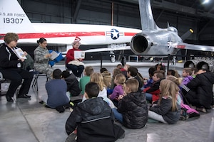 "DAYTON, Ohio -- More than 850 local second and third grade students participated in the museum's 20th annual Read Across America ""Read-In"" from Feb 28-March 1, 2019. Volunteers from Wright-Patterson AFB read books to the students as part of the national celebration honoring Dr. Seuss' 115th birthday. (U.S. Air Force photo)"