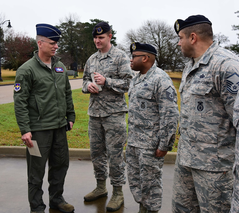 Maj. Gen. Mark Weatherington deputy commander of Air Education and Training Command, speaks to Airmen from the 14th Security Forces Squadron Feb. 21, 2019, on Columbus Air Force Base, Mississippi. Currently firearms training and qualifications can only be completed at locations off of Columbus AFB. (U.S. Air Force photo by Elizabeth Owens)