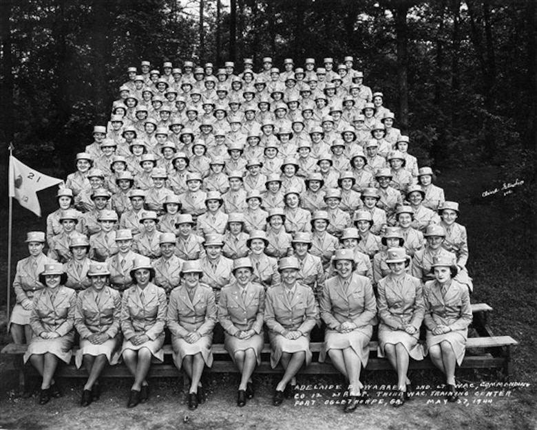First woman to join the Air Force sits with her basic training class at Fort Oglethorpe, Georgia, in 1948.
