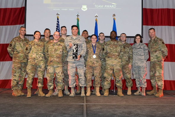Airmen are recognized during the 2018 Fighter Wing Annual Awards, Feb. 22, 2019 at Aviano Air Base, Italy. The winners of each category go on to compete in the Major Command level.