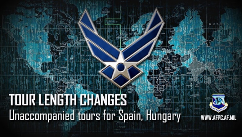 Air Force military tour lengths for unaccompanied assignments to Papa Air Base, Hungary, and Moron Air Base, Spain, will change effective April 1, 2019. Papa Air Base will become an 18-month unaccompanied tour, while Moron will become a 12-month unaccompanied tour.
