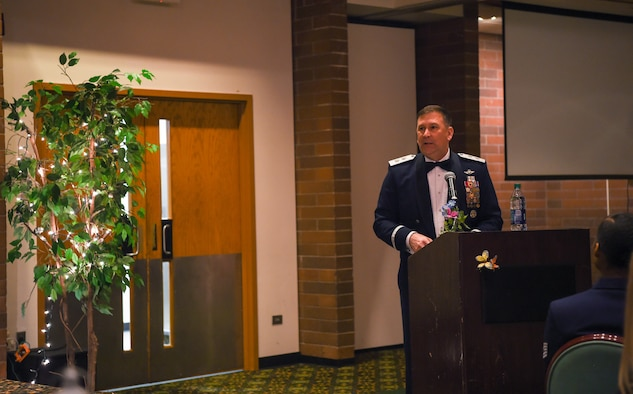 Major Gen. (Ret.) Christopher Bence, former U.S. Air Force Expeditionary Center commander, shares his insights into what it takes to be a leader during the 2018 Team McChord Annual Awards Banquet at the McChord Club, Joint Base Lewis-McChord, Wash., Feb. 22, 2019. Bence, whose career spanned three decades, was the guest speaker for the ceremony. (U.S. Air Force photo by Senior Airman Tryphena Mayhugh)