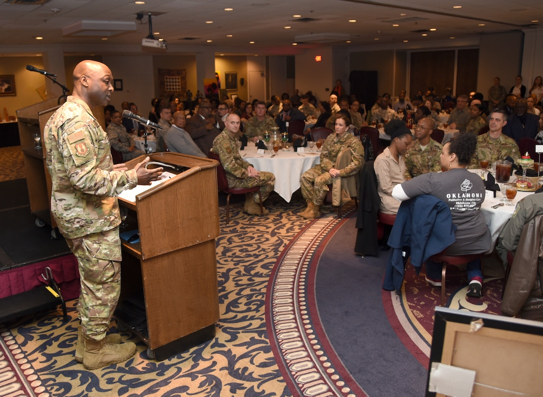 72nd Air Base Wing Commander Col. Kenyon Bell welcomes guests to the Black History Month Luncheon at the Tinker Club Feb. 21. The annual event featured Rev. A. Byron Coleman III, with the Fifth Street Missionary Baptist Church, as the guest speaker. This year's Black History Month theme was Black Migrations, which occurred between 1915 and 1970. Six million African Americans moved to different regions across the United States in search of higher wages and better social and political opportunities.