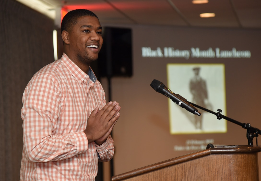 Justin Brothers, with Defense Logistics Agency, presented his poem, 'Hardcore,' at the Black History Month Luncheon Feb. 21.