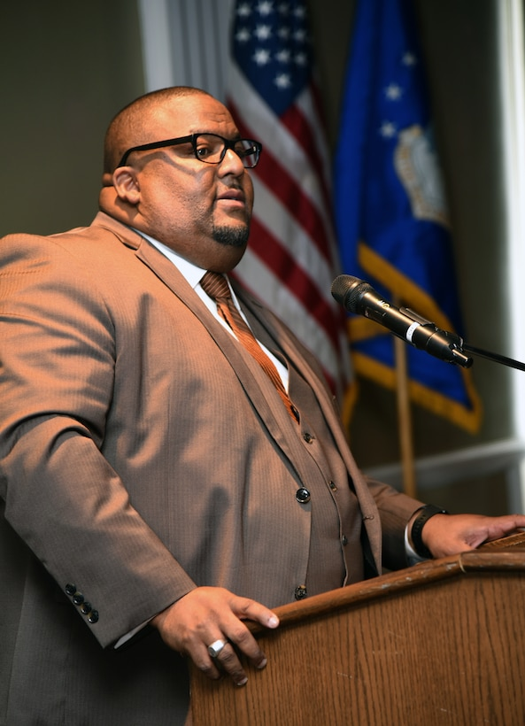 Rev. A. Byron Coleman III, with Fifth Street Missionary Baptist Church, was the guest speaker at the Black History Month Luncheon at the Tinker Club Feb. 21. Rev. Coleman also serves as an Adjunct Professor in the African/African-American Studies Program at the University of Oklahoma.