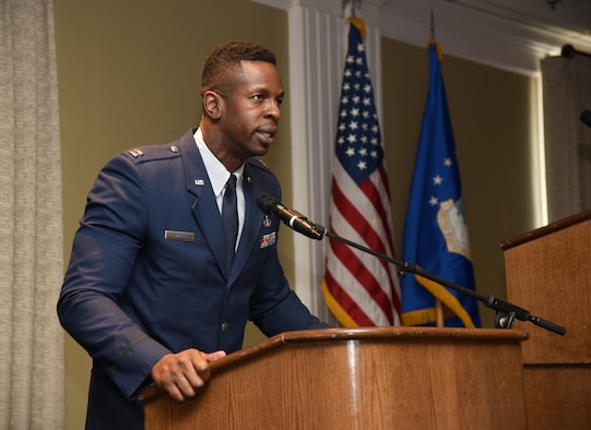 Chaplain (Capt.) Okechukwu Nwaneri gave the invocation at the Black History Month Luncheon Feb. 21. He also presented a donation to the Fifth Street Missionary Baptist Church on behalf of the Tinker African American Heritage Council.