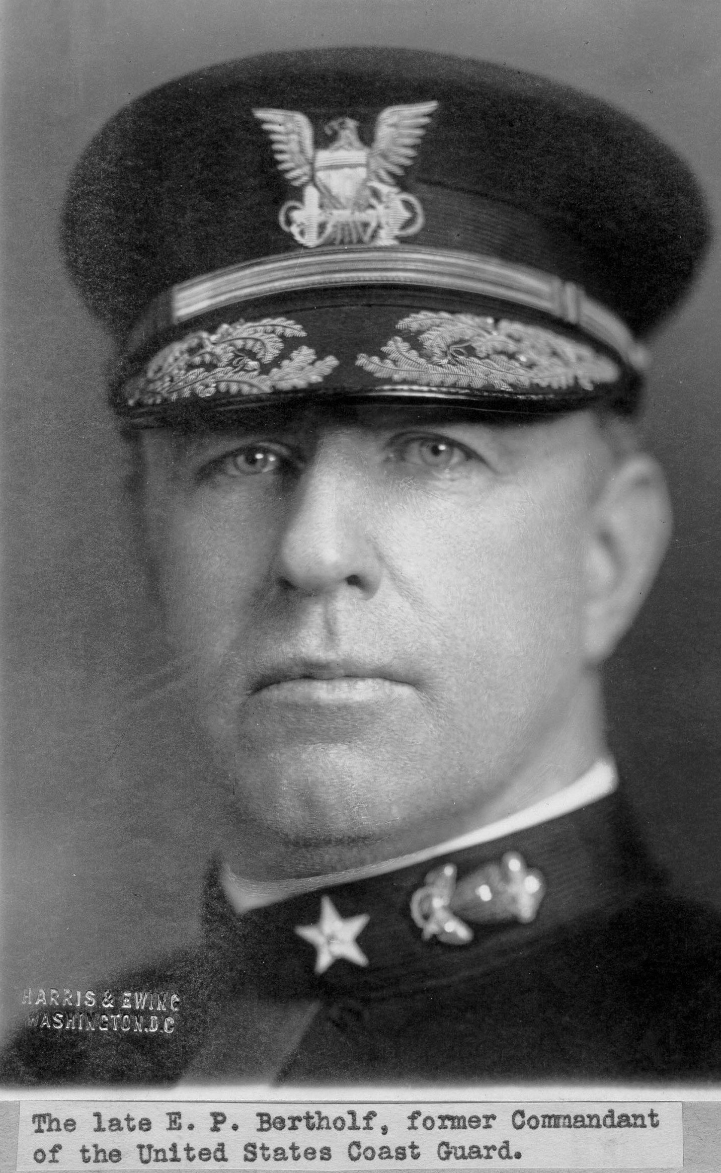 """""""The late [Commodore] E. P. Bertholf, former Commandant of the United States Coast Guard.""""; no date/photo number; photo by """"Harris & Ewing, Washington, D.C."""""""