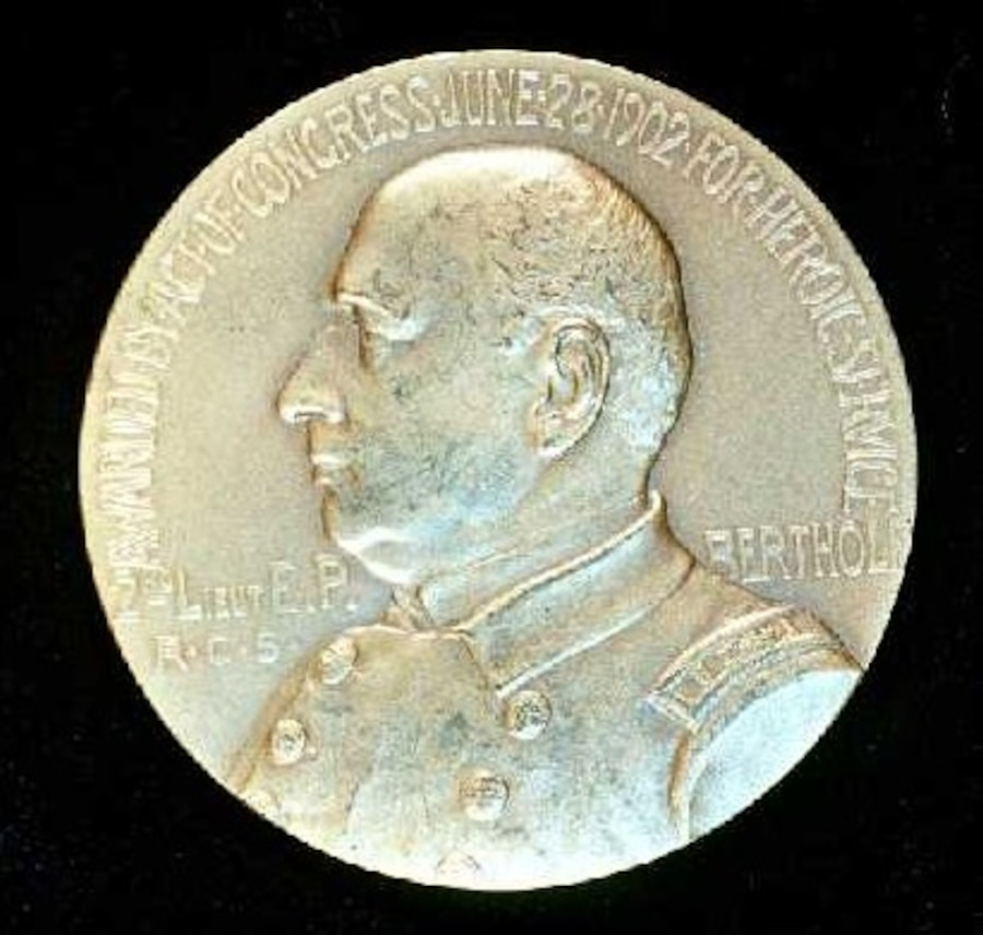 A one-of-a-kind medal struck for and awarded to then-LT Ellsworth P. Bertholf, USRCS, for his work in the overland relief of whale-men and their ships who had become trapped in the ice at Point Barrow in the winter of 1897-1898.