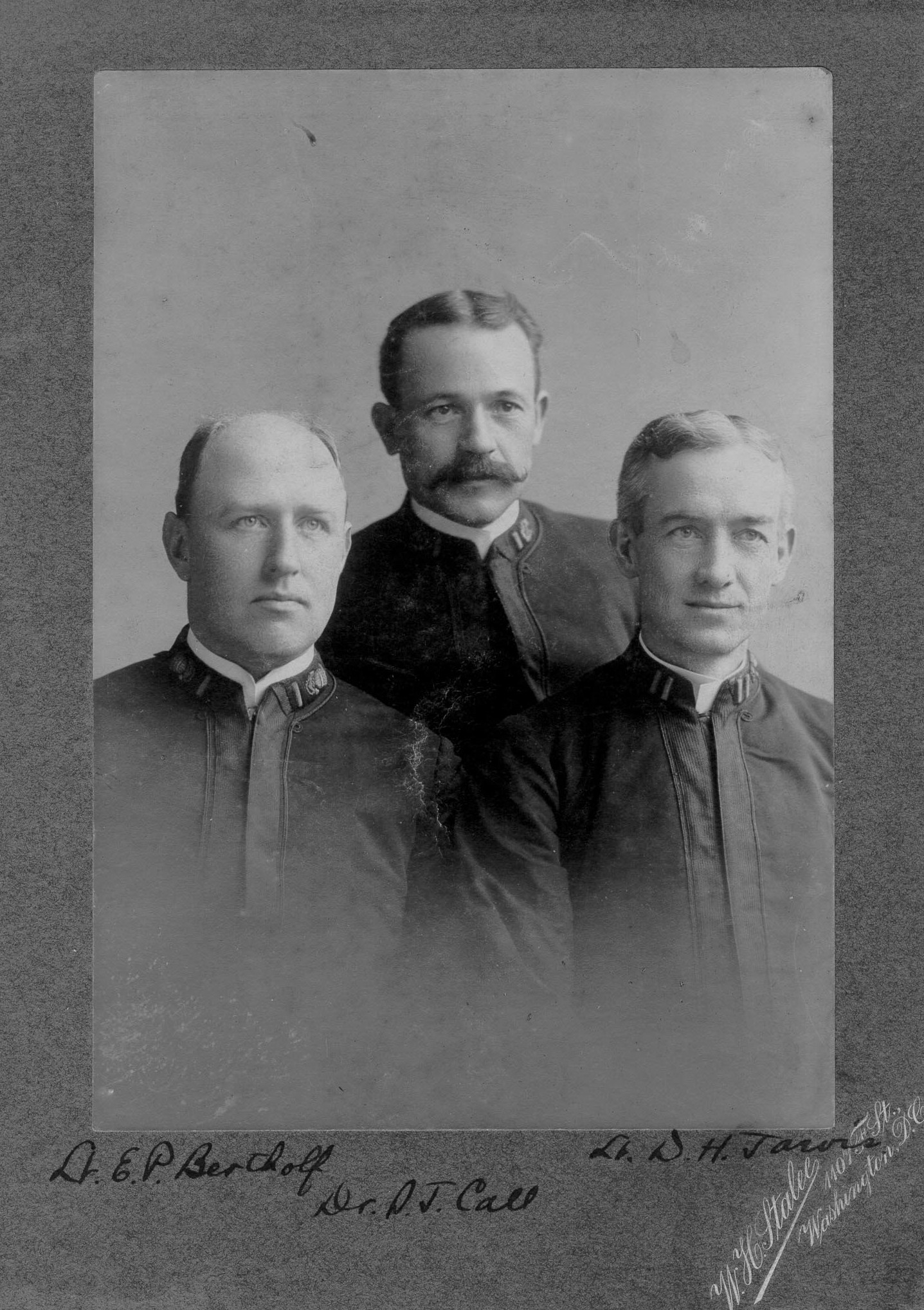 """The officers of the Overland Relief Expedition.  From left to right: """"Lt. E. P. Bertholf; Dr. S. J. Call; Lt. D. H. Jarvis.""""; no date/photo number; photo by W. H. Stalee [of] 1007 F. St., Washington, D.C."""""""