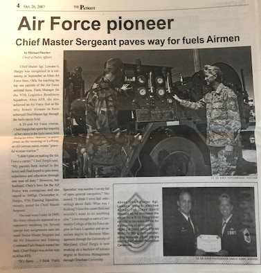 A photo of a newspaper article from Oct. 2007 about Ret. Chief Master Sgt. Gail Hargis, chief of protocol for the 97th Air Mobility Wing.