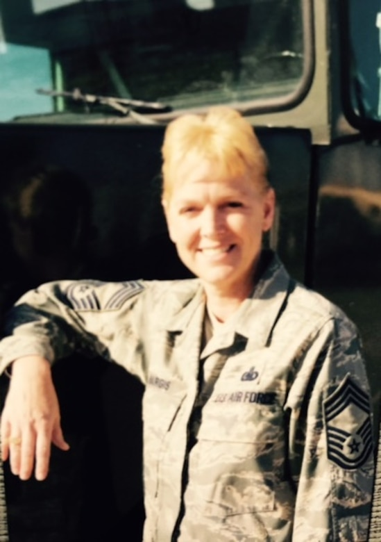A photo of Ret. Chief Master Sgt. Gail Hargis during her time as an active duty U.S. Air Force Chief Master Sgt.