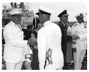 Admiral Chester R. Bender and General Lewis W. Walt, Change of Command Ceremony June 1, 1970 aboard the USCGC Gallatin at the US Navy Yard. Coast Guard Archives, Commandant Chester R. Bender