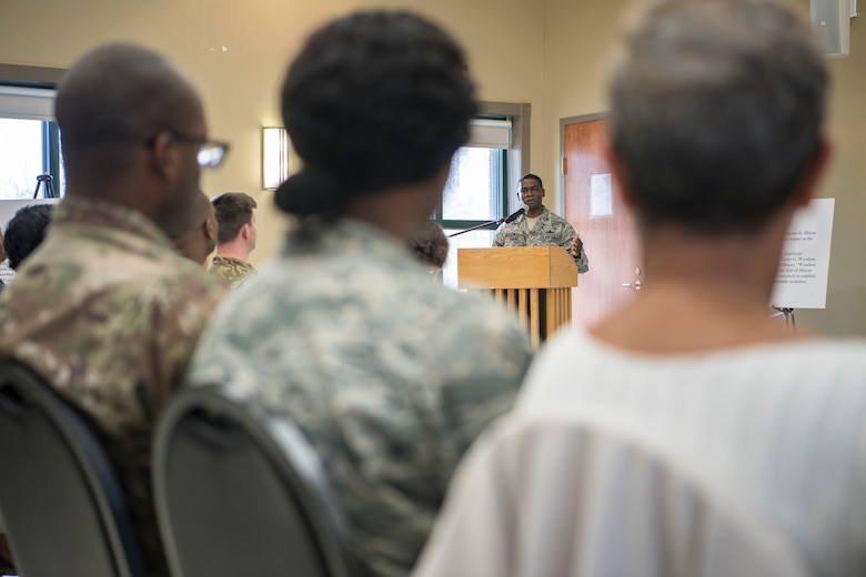 Col. Terrence Adams, 628th Air Base Wing commander, provides the crowd with his opening remarks during the 2019 National African American Black History Program Celebration Feb 27, 2019, at Joint Base Charleston's Chapel Annex in Charleston, S.C.