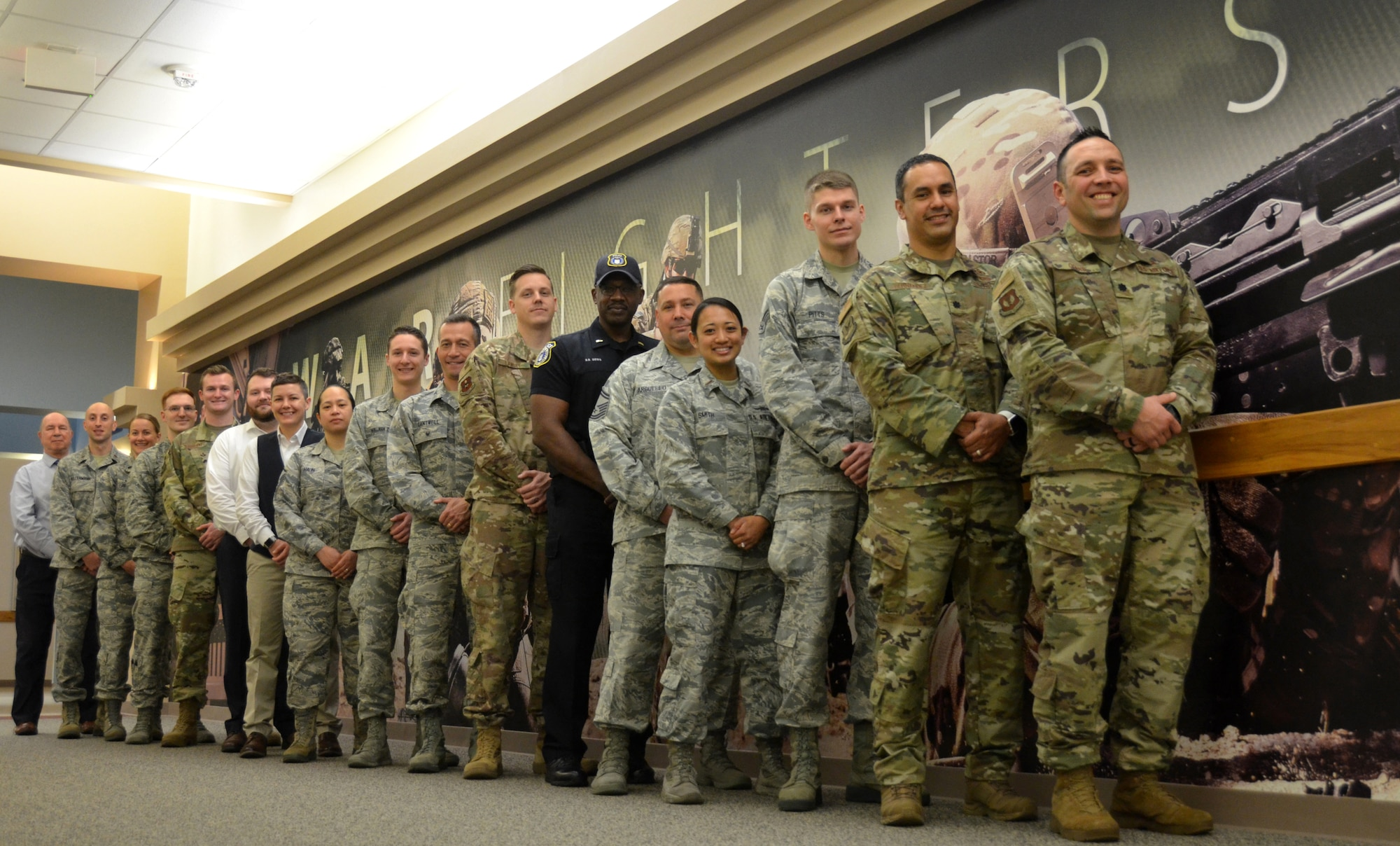 2019 Innovation Rodeo teams take a few minutes for a group photo at AFIMSC headquarters in San Antonio, Feb. 28, 2019. (U.S.  Air Force photo by Armando Perez)