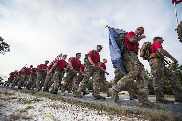 Airmen participate in a memorial march to Hurlburt Field, Fla., Oct. 13, 2015. (U.S. Air Force photo by Kai White)