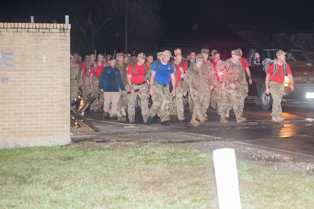 Hundreds of Special Tactics Airmen and Special Warfare trainees gathered early morning, Feb. 22, 2019, at the Medina Annex in Joint Base San Antonio-Lackland, Texas, to begin an 830-mile ruck march across five states in tribute to U.S. Air Force Staff Sgt. Dylan J. Elchin, along with 19 other Special Tactics Airmen, who have been killed in action since 9/11. The ruck march is projected to average about 12 miles per leg, alternating between the ten teams of two throughout the day ending at Hurlburt Field, Fla., March 4, 2019 at 1:00 p.m. EST. The 830-miles event will take over 11 days averaging 70 miles each day. (U.S. Air Force photo by Andrew Patterson)