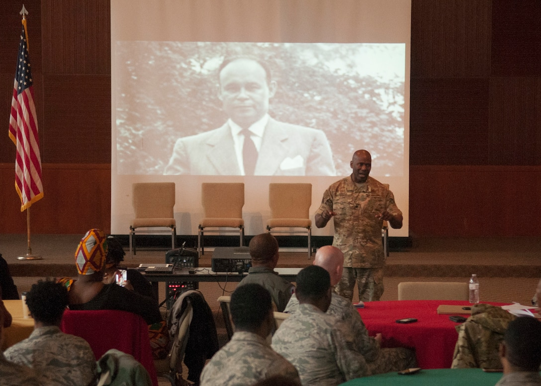 Lt. Col. Ahave Brown, 9th Maintenance Group deputy commander, shares his experiences with the audience during the Beale AFB Black History Month potluck