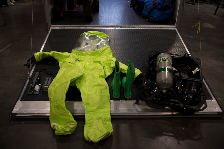 Bioenvironmental engineering technican gear displayed on the opening of a vehicle, Feb. 27, 2019 at Mountain Home Air Force Base, Idaho. The gear when worn weighs over fifty pounds. (U.S. Air Force photo by Airman Nicholas Swift)