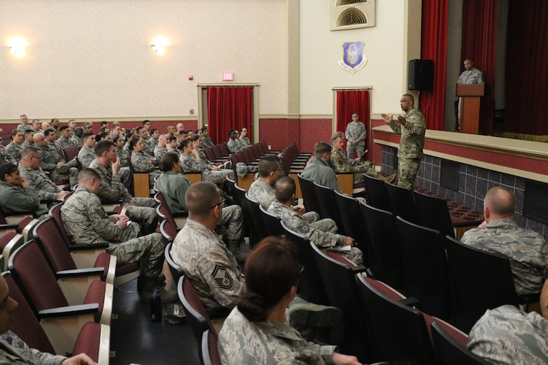 U.S. Air Force Chief Master Sgt. Timothy White, command chief, 4AF, March Air Reserve Base, addresses 452nd Air Mobility Wing Reserve Citizen Airmen during an enlisted all-call at the Cultural Resource Center here Feb. 10, 2019.