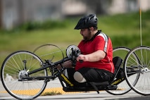 A Georgian athlete participates in hand cycling during the 2019 Marine Corps Trials at Marine Corps Base Camp Pendleton, California, March 1. The Marine Corps Trials promotes recovery and rehabilitation through adaptive sports participation and develops camaraderie among recovering service members and veterans. Additionally, the competition is an opportunity for participants to demonstrate physical and mental achievements and serves as the primary venue to select Marine Corps participants for the DoD Warrior Games.