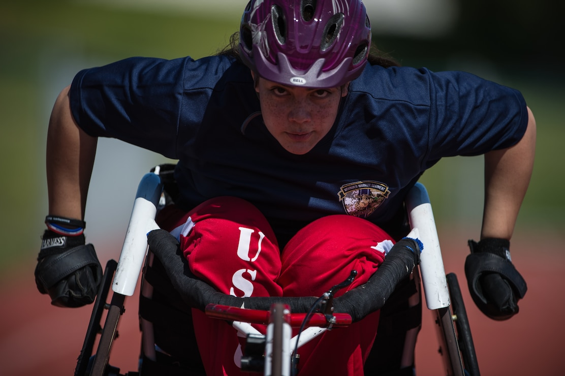 A U.S. Marine Corps athlete practices during the 2019 Marine Corps Trials at Marine Corps Base Camp Pendleton, California, Feb. 27.  The Marine Corps Trials promotes recovery and rehabilitation through adaptive sports participation and develops camaraderie among recovering service members and veterans. Additionally, the competition is an opportunity for participants to demonstrate physical and mental achievements and serves as the primary venue to select Marine Corps participants for the DoD Warrior Games.