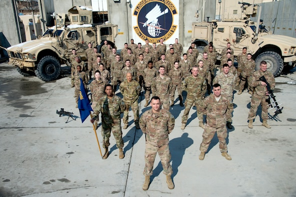 Airmen from the 455th Expeditionary Security Forces Squadron pause for a photo Feb. 22, 2019 at Bagram Airfield, Afghanistan.