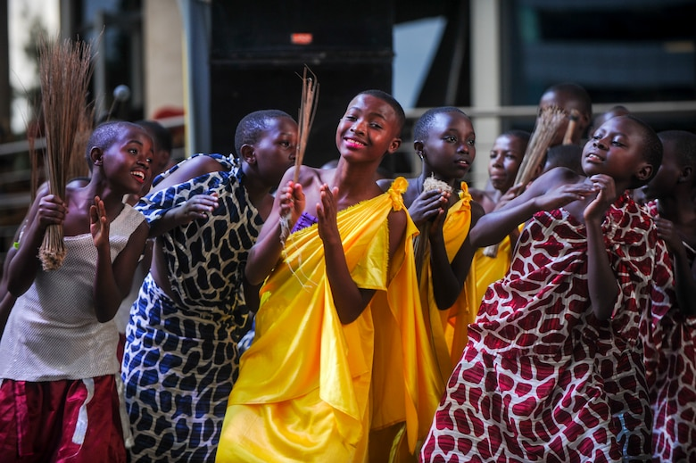 Members of the LEAF Junior Troupe perform a dance during a Tour du Rwanda concert in Kigali, Rwanda, March 2, 2019. LEAF Community Arts is an international non-profit organization whose mission is to build community and connect cultures through arts such as music and dance. (U.S. Air Force photo by Tech. Sgt. Timothy Moore)