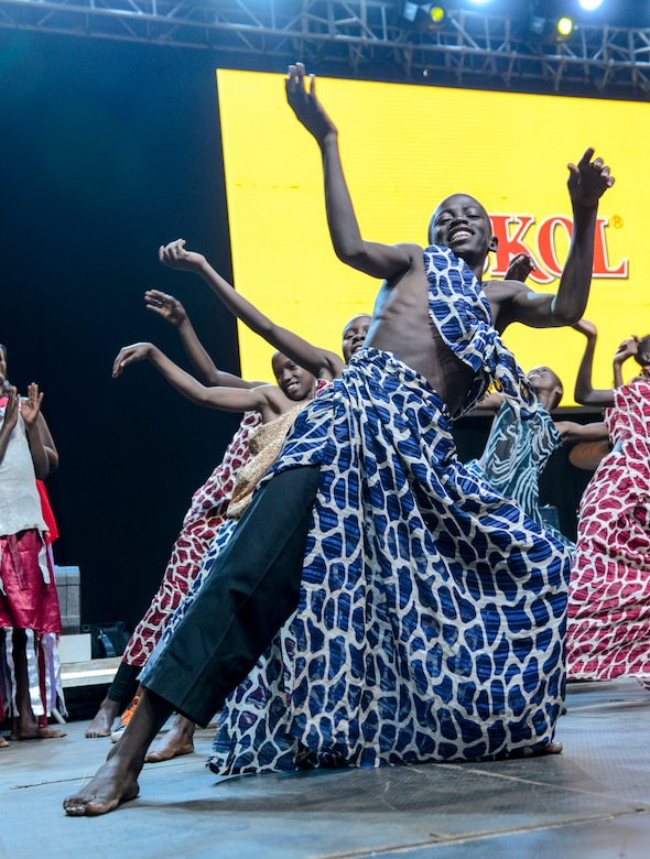 Members of the LEAF Junior Troupe perform a dance during a Tour du Rwanda concert in Kigali, Rwanda, March 2, 2019.