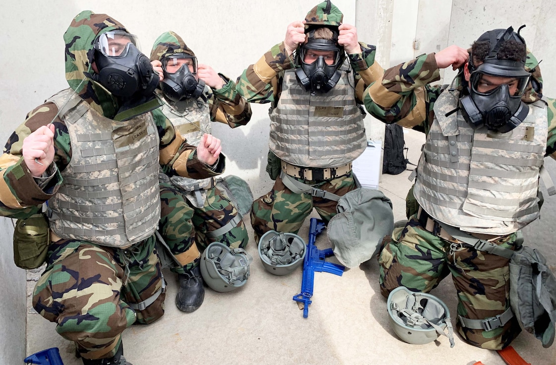 Reserve Citizen Airmen of the 931st Air Refueling Wing don their gas masks during in an Annual Readiness Assessment March 2, 2019, McConnell Air Force Base, Kan.  The Assessment provides Airmen with the training they need in order to carry out mission requirements with efficiency and accuracy.  (U.S. Air Force photo by Lt. Col. Suzie Jones)