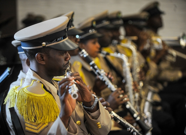 Members of the Rwanda Defence Force band play music at the African Partnership Flight Rwanda opening ceremony in Kigali, Rwanda, March 4, 2019. The APF program is intended to build strong, transparent partnerships that enhance regional stability and security. APF Rwanda's focus is on sharing best practices for flight, ground, and weapon safety. (U.S. Air Force photo by Tech. Sgt. Timothy Moore)