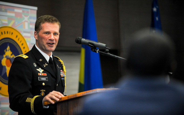 U.S. Army Lt. Col. Jason Farmer, Defence Attaché at the U.S. Embassy in Kigali, gives remarks during the African Partnership Flight Rwanda opening ceremony in Kigali, Rwanda, March 4, 2019. APF Rwanda's focus is on sharing best practices for flight, ground, and weapon safety. APF Rwanda participants include military representatives from Rwanda, the United States, Cameroon, Ghana, Senegal, and Zambia. (U.S. Air Force photo by Tech. Sgt. Timothy Moore)