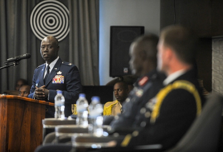 U.S. Air Force Col. Stephen Hughes, deputy director of U.S. Air Forces in Europe-Air Forces Africa Plans, Programs, and Analysis, gives remarks during the African Partnership Flight Rwanda opening ceremony in Kigali, Rwanda, March 4, 2019. Hosted by the Rwanda Defence Force and AFAFRICA, APF Rwanda's focus is on sharing best practices for flight, ground, and weapon safety. Participants in military representatives from Rwanda, the United States, Cameroon, Ghana, Senegal, and Zambia. (U.S. Air Force photo by Tech. Sgt. Timothy Moore)
