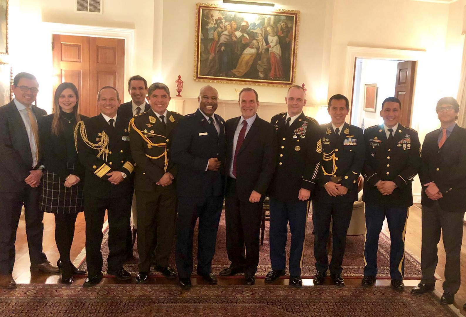 Members of the West Virginia National Guard pose for a photo with the Peruvian Chargé d'Affaires, Minister Agustín De Madalengoitia, and other Defense Attachés and diplomats Feb. 19, 2019, at the Peruvian Embassy in Washington, D.C.