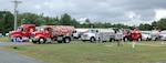 Fuel trucks and trailers are staged at the request of FEMA at Fort A.P. Hill, Virginia, which served as an incident support base during Hurricane Florence. Items were provided by DLA and overseen by DLA Energy and DLA Distribution personnel.