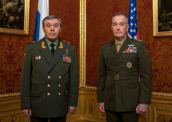 Marine Corps Gen. Joe Dunford, chairman of the Joint Chiefs of Staff, speaks with Russian Gen. Valery Gerasimov, chief of the General Staff of the Armed Forces of Russia, during a meeting at the Winter Palace in Vienna, Austria, March 4, 2019. (DoD Photo by Navy Petty Officer 1st Class Dominique A. Pineiro)