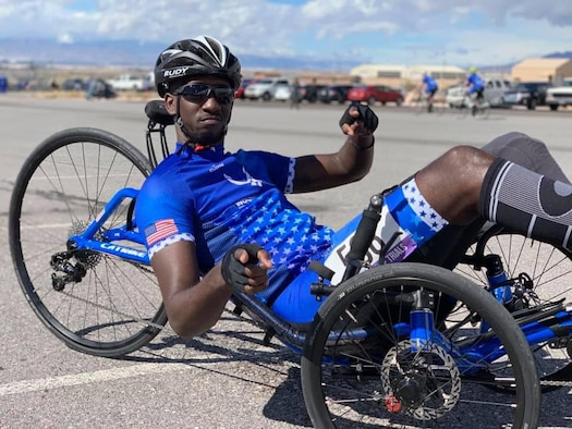 SrA Kevin Green, 920th Aeromedical Staging Squadron, Patrick Air Force Base, Florida, despite losing his left foot in a motorcycle accident on Dec. 17, 2014, competed along with more than 120 other wounded warriors from the Air Force and Army March 1 to officially open the sixth annual Air Force Trials at Nellis Air Force Base, Las Vegas. Green took first place in the recumbent 20K cycling road race. (Courtesy photo)