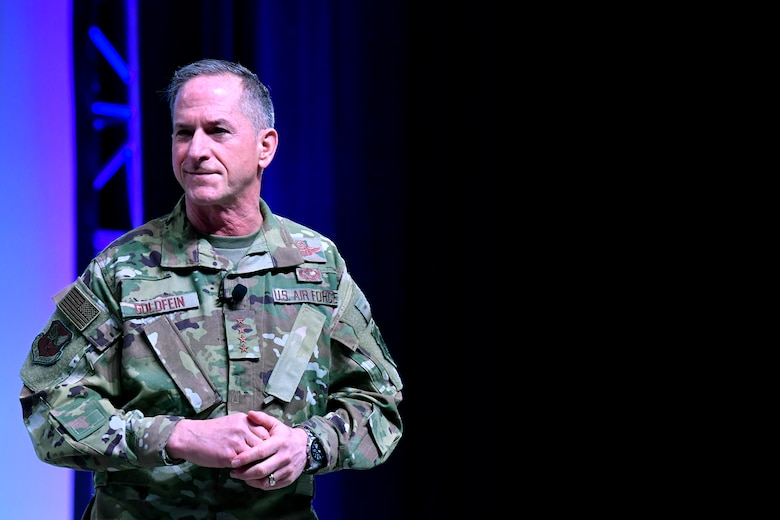 Air Force Chief of Staff Gen. David L. Goldfein gives remarks during the Air Force Association's Air Warfare Symposium in Orlando, Fla., March 1, 2019. During their remarks Goldfein and Wright highlighted the importance of inspirational and courageous leadership. (U.S. Air Force photo by Wayne Clark)