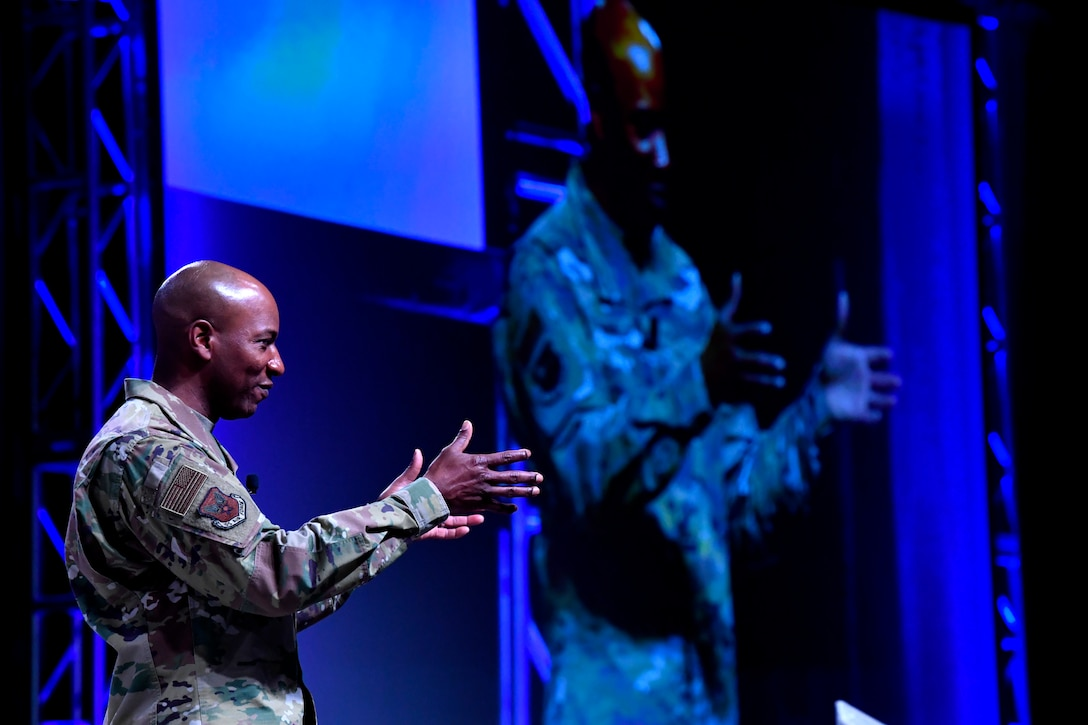 Chief Master Sgt. of the Air Force Kaleth O. Wright gives remarks during the Air Force Association's Air Warfare Symposium in Orlando, Fla., March 1, 2019. During their remarks Goldfein and Wright highlighted the importance of inspirational and courageous leadership. (U.S. Air Force photo by Wayne Clark)
