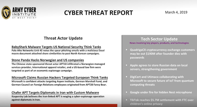 Cyber Threat Report 04 March 2019