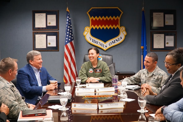Army & Air Force Exchange Service Director/CEO Tom Shull (second from left) meets with Col. Sherri LeVan, 55th Wing vice commander; Command Chief Master Sgt. Brian Kruzelnick; and Col. David Norton, 55th Mission Support Group commander; to discuss Exchange support at Offutt Air Force Base during his visit Sept 28, 2018. (Army & Air Force Exchange Service courtesy photo)