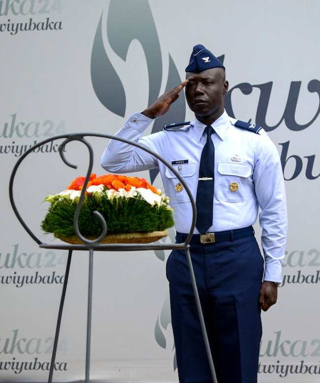 U.S. Air Force Col. Stephen Hughes, deputy director of U.S. Air Forces in Europe-Air Forces Africa Plans, Programs, and Analysis, renders a salute during a wreath laying ceremony at the Kigali Genocide Memorial in Kigali, Rwanda, March 4, 2019. Hughes and air force delegates participating in the African Partnership Flight Rwanda visited the memorial as part of a cultural visit. (U.S. Air Force photo by Tech. Sgt. Timothy Moore)
