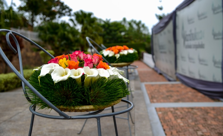 Wreaths rest on stands after a ceremony at the Kigali Genocide Memorial in Kigali, Rwanda, March 4, 2019. Participants in the African Partnership Flight Rwanda took part in the wreath laying ceremony as part of a cultural visit as well as to pay their respects to the approximately 250,000 victims buried there. (U.S. Air Force photo by Tech. Sgt. Timothy Moore)