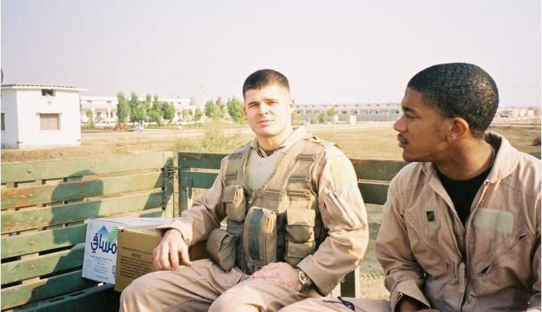 U.S. Air Force Chief Master Sgt. Tony Jenkins, 33rd Operations Group superintendent, pictured as a Staff Sgt., sits with a crew member March 24, 2003, in Jacobabad, Pakistan. Jenkins was able to bounce back from a crucial mistake he made early in his career that molded his outlook on the Air Force and his leadership philosophy. (Courtesy photo)